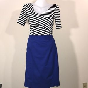 Blue Pencil Skirt above the knee Sz 6 whit house